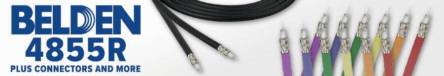 Belden 4855R 12G-SDI 4K UHD Mini-Coax Cable with Connectors and Accessories