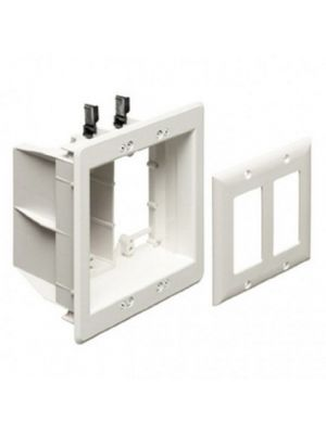 Calrad 28-TVBU505 White Dual Gang Recessed Combo Box