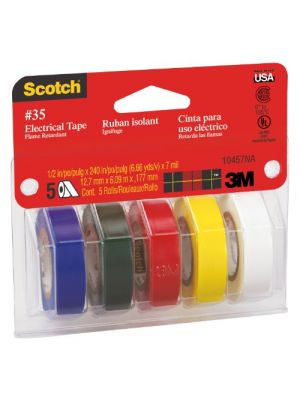 3M 10457 Scotch Colored Vinyl Electrical Tape, 5 Pack