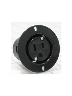 Marinco 5279BL 15A 125V Black Flanged Outlet