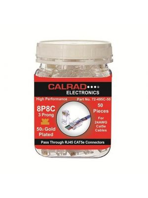 Calrad 72-495C-50 Pass Through RJ45 Cat5e Connectors  (50 Pack)