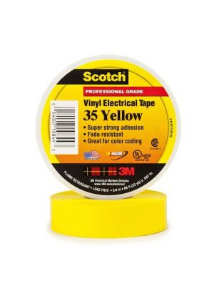 3M 35-3/4 Scotch Brand Vinyl Electrical Tape Yellow