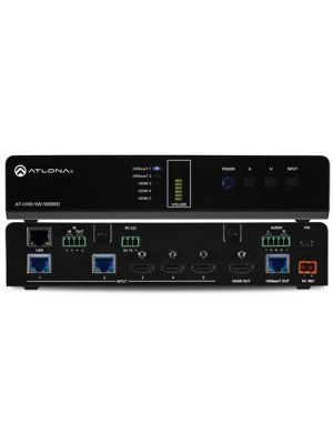Atlona AT-UHD-SW-5000ED 4K/UHD Five-Input HDMI Switcher with Two HDBaseT Inputs and Mirrored HDMI / HDBaseT Outputs