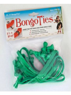 Bongo Ties A5-01-G ALL-GREEN 5 inch BongoTies (10-pack)