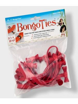 Bongo Ties A5-01-R ALL-RED 5 inch BongoTies (10-pack)