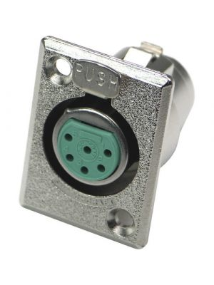 Switchcraft D6F 6-pin XLR Female D Series Panel Mount Connector