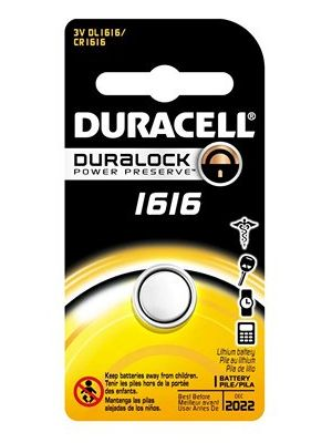 Duracell DL1616 3V Lithium Watch/Electronic Coin Cell Battery