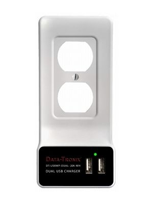 DATA-TRONIX DT-USBWP-DUAL-20A-WH 20A USB Charging Wall Plate (White)
