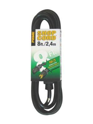 Prime Wire EC502608 SJTW 8 Foot Indoor and Outdoor Extension Cord- Black