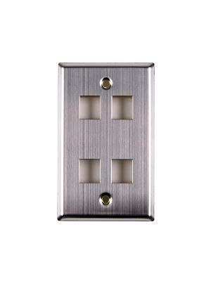 HellermannTyton FPQUAD-SS Flush Mount Faceplate 4 Port (Stainless Steel)