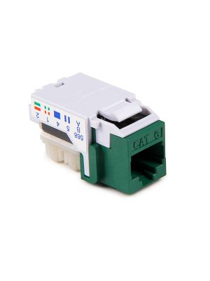 HellermannTyton RJ45FC6-GRN Category 6 Modular Keystone Jack (Green)