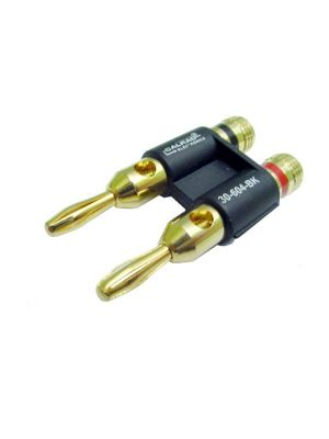 Calrad 30-604-BK Dual Banana Plug Metal Gold (Black)