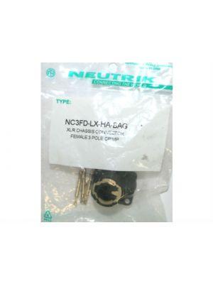 Neutrik NC3FDLXHA-BAG XLR Female Receptacle (Black)