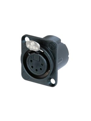 Neutrik NC5FD-LX-B 5-Pole XLR Female Receptacle Black Metal Housing w/Gold Contacts