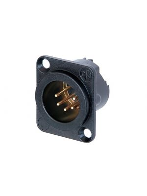 Neutrik NC5MD-LX-B 5-Pole XLR Male Receptacle Black Metal Housing w/Gold Contacts