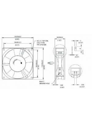 Orion OA109AP11-3TB Low Speed Ball Bearing Cooling Fan, 4.75