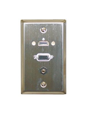 Philmore 75-642 Stainless Steel Wallplate w/ HDMI, VGA, 3.5mm