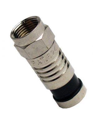 Platinum Tools 18002 F-Type RG6 Quad Nickel SealSmart Coaxial Compression Connectors (pack of 10)