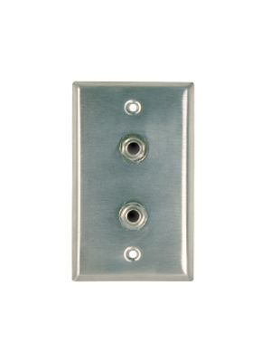 RapcoHorizon SP211 Stainless Steel Wall Plate w/ Two Mono 1/4 inch Jacks