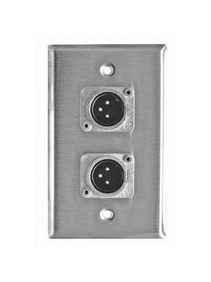 RapcoHorizon SP-2DMN Stainless Steel Single Gang Neutrik XLR-Male Wallplate