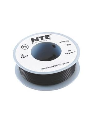 NTE Electronics WH26-00-25 26AWG Stranded Black Hook-Up Wire (25FT)