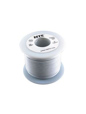 NTE Electronics WH26-09-100 26AWG Stranded White Hook-Up Wire (100FT)