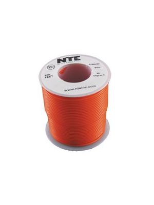 NTE Electronics WH26-03-100 26AWG Stranded Orange Hook-Up Wire (100FT)