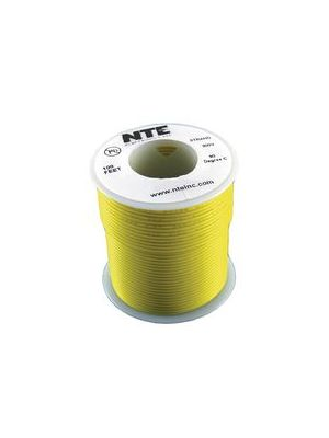 NTE Electronics WH26-04-100 26AWG Stranded Yellow Hook-Up Wire (100FT)