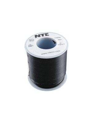 NTE Electronics WH26-00-100 26AWG Stranded Black Hook-Up Wire (100FT)