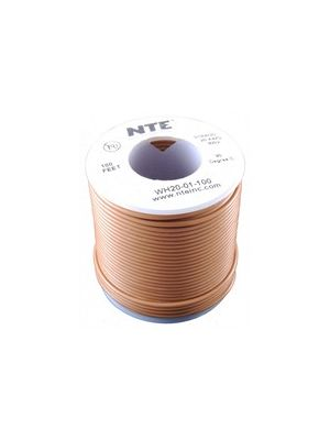 NTE Electronics WH26-01-100 26AWG Stranded Brown Hook-Up Wire (100FT)