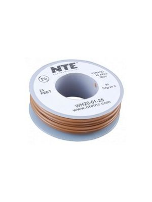 NTE Electronics WH26-01-25 26AWG Stranded Brown Hook-Up Wire (25FT)