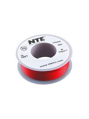 NTE Electronics WH26-02-25 26AWG Stranded Red Hook-Up Wire (25FT)