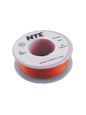 NTE Electronics WH26-03-25 26AWG Stranded Orange Hook-Up Wire (25FT)