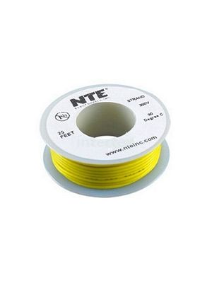 NTE Electronics WH26-04-25 26AWG Stranded Yellow Hook-Up Wire (25FT)