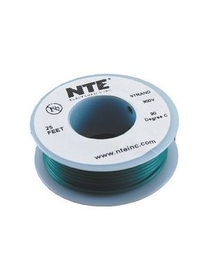 NTE Electronics WH26-05-25 26AWG Stranded Green Hook-Up Wire (25FT)