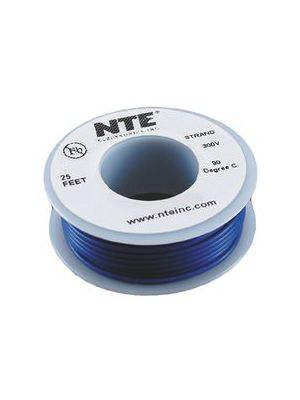 NTE Electronics WH26-06-25 26AWG Stranded Blue Hook-Up Wire (25FT)
