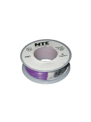 NTE Electronics WH26-07-25 26AWG Stranded Violet Hook-Up Wire (25FT)