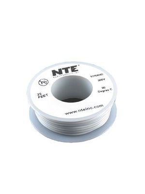 NTE Electronics WH26-09-25 26AWG Stranded White Hook-Up Wire (25FT)