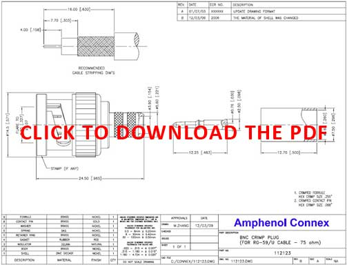 Pacific Radio Connex 112123 75 Ohm BNC Connector Product Data Sheet