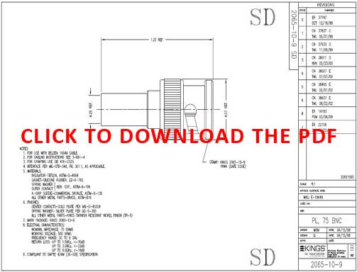 Pacific Radio Kings 2065-10-9 75 Ohm BNC Connector Product Data Sheet