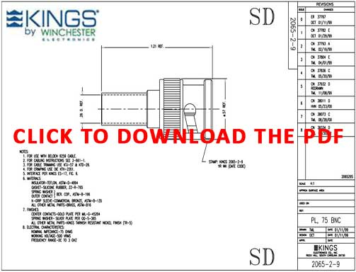 Pacific Radio Kings 2065-2-9 True 75Ohm BNC Connector Product Data Sheet